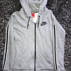 Nike gray striped zip up hoodie